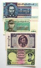 Set of 4 diff. Burma paper money xf-Au 1950's-70's