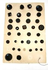 Antique Button Lot Collection Card Black Carnival Gold Luster Faceted Glass