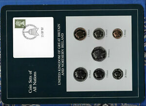 Coin Sets of All Nations Great Britain w/card UNC 1£,1,2,5,10,20, 50 Pence 1988