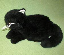 """12"""" UNIPAK BLACK CAT PLUSH KITTEN STUFFED ANIMAL LAYING DOWN 2012 WHITE WHISKERS"""