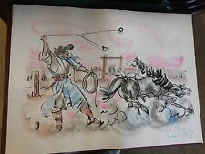 Outstanding Unframed Argentina GAUCHO Art by Elena Castellanos 1967....SALE