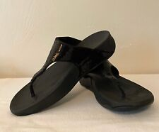 Fitflop Women's Thong Sandal Black Embellished Sequined Straps Wedge Heel Size 9