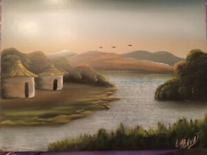 ATMOSPHERIC OIL PAINTING ON BOARD AFRICAN ART HUTS BY THE RIVER SIGNED