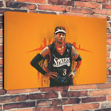 """Allen Iverson NBA Player Printed Box Canvas Picture A1.30""""x20""""30mm Deep Wall Art"""