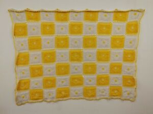 "Vintage Yellow&White ""Checkerboard"" "" Blanket"