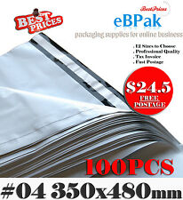 100 Poly Mailer 350x480mm Plastic Satchel - Self Sealing #04 Courier Bag PM04