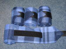 New set of 4 blue/black plaid horse polo wraps (horse/pony leg wraps)