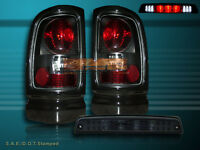 1994-2001 DODGE RAM 1500 2500 3500 TAIL LIGHTS DARK SMOKE +3RD BRAKE LIGHT SMOKE