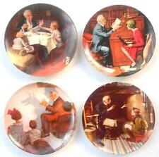 Norman Rockwell Plates 4pc Lot Gourmet Professor Shadow Artist Veteran Heritage
