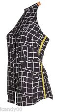 Nwt $225 Sachin + Babi AUDRIANA Open Back Halter Top Blouse ~Black Grid Print *L