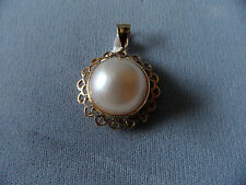 VINTAGE 14K YELLOW GOLD & MABE PEARL LARGE PENDANT