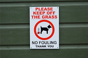 PLEASE KEEP OFF THE GRASS NO FOULING THANK YOU sign or sticker 220x150mm dog poo