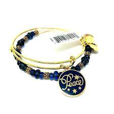 Alex and Ani Peace Set of 2 Expandable Wire Bracelets Blue & Gold Charm NWT