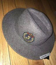 a4f430b2217fe ZARA MAN Mens Wide Brimmed Felt 100% Wool Panama Hat With Crest Gray Sz M