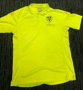 Leeds United Training Top Polo Shirt Fluorescent Yellow LUFC  Kappa Shield Logo