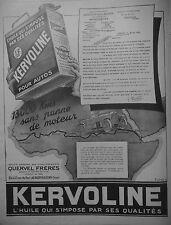 PUBLICITÉ 1925 HUILE KERVOLINE POUR AUTO QUERVEL FRÈRES - ADVERTISING