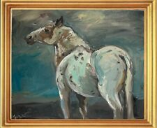 More details for a4 print of oil painting equestrian art. wild horse. contemporary blue grey