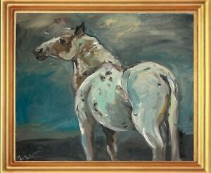 A4 print of oil painting equestrian art. Wild horse. Contemporary blue grey