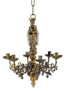 Sehr seltener Madonnenleuchter im Stil der Gotik   um 1850