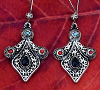 Black Onyx Stone Afghan Ethnic Kuchi Earrings Big Tribal Jewelry Bohemian Long