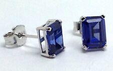 Tanzanite Colour Siberian quartz stud earrings Sterling Silver Emerald cut.