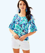 Lilly Pulitzer NWT Lula Top in Tropical Turquoise Elephant Appeal Size XXS $78