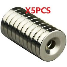 N50 Strong Round Neodymium Magnets Countersunk Ring 5mm Hole 20x4mm 5Pcs