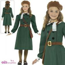 Girls Ww2 Evacuee Girl Fancy Dress Costume Childs Green Outfit by Smiffys Large 10-12 Yrs