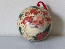 "Vintage Paper Mache Santa Christmas Tree Ornament 3"" Ball"
