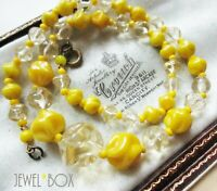 VINTAGE 1950s MOULDED ACID LEMON YELLOW TWISTED GLASS BEADS NECKLACE HAPPY GIFT