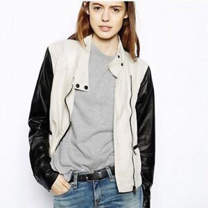rag & bone Linen Leather Moto Jacket, size Large