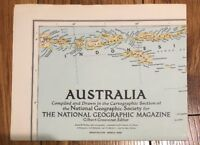 Vintage National Geographic March 1948 Map Australia