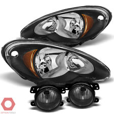 Fits 06-10 PT Cruiser Replacement Headlights Pair (Black) + Fog Light (Smoke)