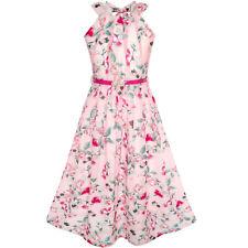 Flower Girl Dress Pink Floral Red Belt Chiffon Maxi Dress Size 6-14 Pageant