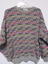 Mens Pronto Uomo PO Sweater Crewneck Colorful 52 Large Green Tweed Italy Long SL