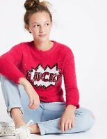Marks & Spencer M&S Girls Cerise Pink 'Lucky' Sequin Jumper Age 6-7 Years NEW