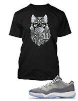Wolf Tee Shirt to Match Air Jordan 11 Low Cool Grey Shoe Mens Graphic Pro Club