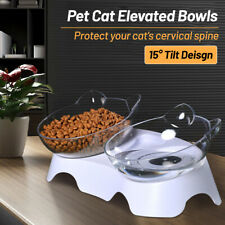 Pet Dog Feeder 2 Bowl Dishes 15° Slant Cat Ears Shape Drinking Water Container