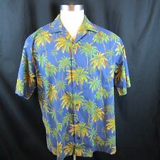 KOKO Island Mens XL Lt Blue Plam Trees Casual Hawaiian Shirt