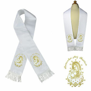 White Satin Stole Baptism Christening Silver Gold Embroidered Virgin Mary & Pope