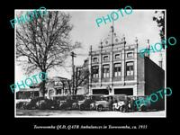 OLD LARGE HISTORIC PHOTO OF TOOWOOMBA, QATB QUEENSLAND AMBULANCE STATION 1933