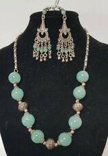 Turkish Sterling Silver 12mm Jade Bead Necklace &Jade Filigree Drop Earrings 49g
