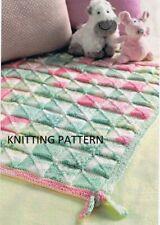 (390) Baby Blanket COPY Knitting Pattern, Easy Knit Design in DK yarn