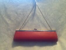 "VINTAGE 11"" Red Faux Leather Baguette Clutch Tube Purse Bag Silver Chain Handle"