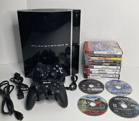 Sony Playstation 3 PS3 80GB Fat Console CECHK01 2 Controllers 14 Game Lot