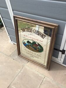 Vintage Southern Comfort Advertising Mirror in wooden frame 20 x 24 Inches Used.