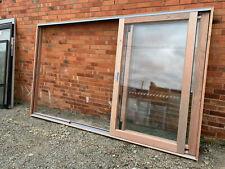 2110H x 2440W Meranti Sliding Door STACKER SINGLE GLAZED Clear Toughened NEW