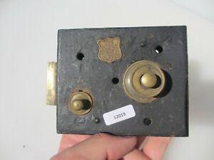 "Antique Iron Door Lock Brass Bolt Brass Button Handle Old Bathroom ""The Ideal"""