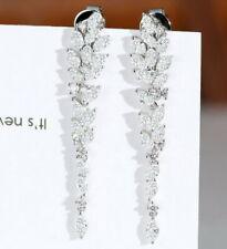 1.32Ct Natural Diamond 14K White Gold Long Earring E341