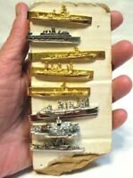 VINTAGE TIE CLASP SHIP LOT OF 8 PIECES GOLD AND SILVER